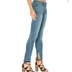 Free People Side Slit Raw Hem Ankle Jeans